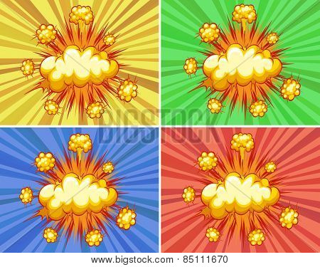 Cloud explosions with different color background
