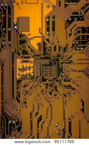 Close up of a printed computer circuit board