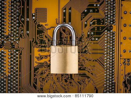 Protection concept : security lock on computer circuit board