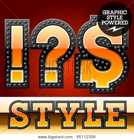 Vector set of industrial style orange font with black rivet border. Symbols