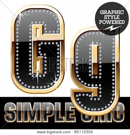 Vector set of chic black font with diamonds and  gold border. Letter G
