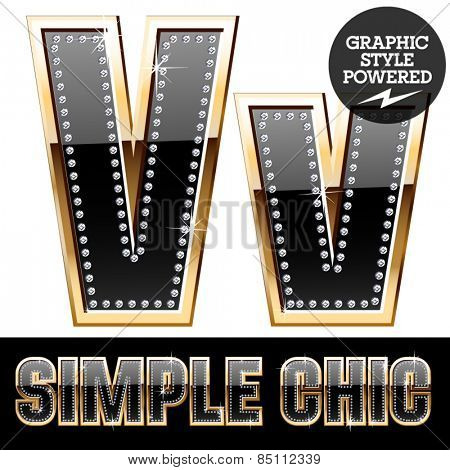Vector set of chic black font with diamonds and  gold border. Letter V