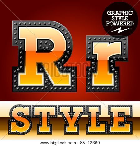 Vector set of industrial style orange font with black rivet border. Letter R