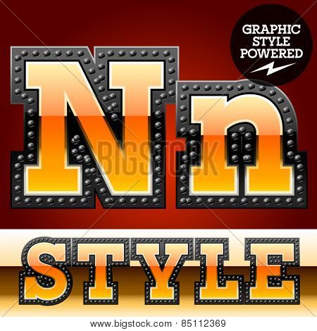 Vector set of industrial style orange font with black rivet border. Letter N