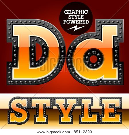Vector set of industrial style orange font with black rivet border. Letter D