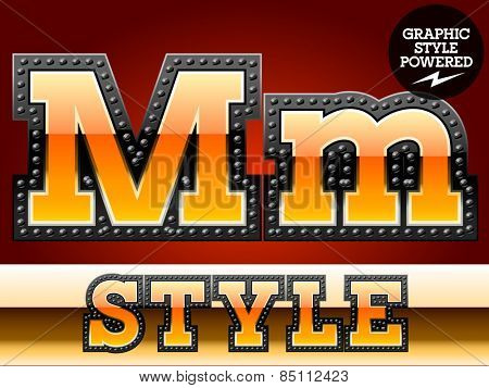 Vector set of industrial style orange font with black rivet border. Letter M