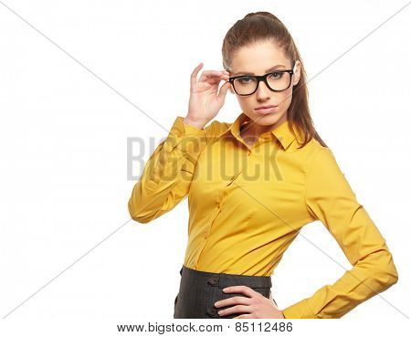 Business woman with glasses on isolated background