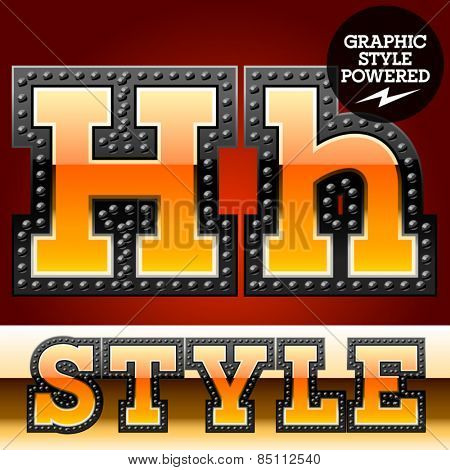 Vector set of industrial style orange font with black rivet border. Letter H