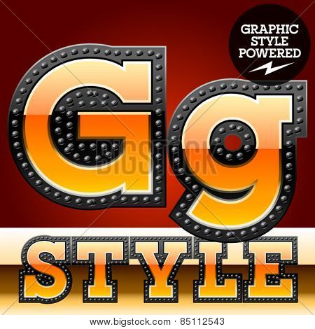 Vector set of industrial style orange font with black rivet border. Letter G