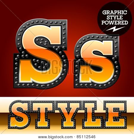 Vector set of industrial style orange font with black rivet border. Letter S