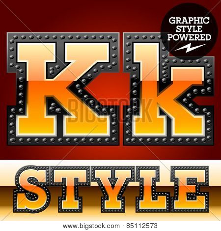 Vector set of industrial style orange font with black rivet border. Letter K