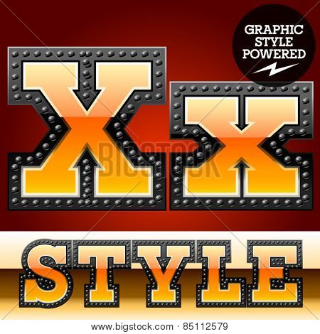Vector set of industrial style orange font with black rivet border. Letter X