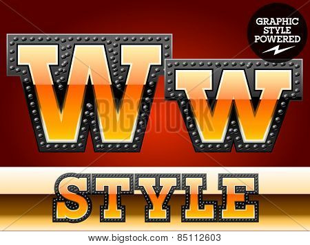 Vector set of industrial style orange font with black rivet border. Letter W