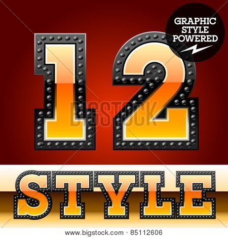 Vector set of industrial style orange font with black rivet border. Numbers 1 2