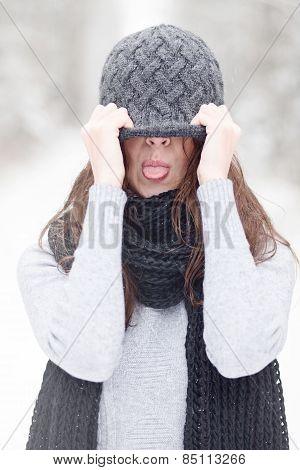 Beautiful Brunette Girl In Winter Hat Hipster