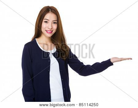 Woman with hand show with blank sigh
