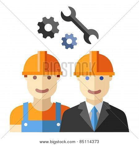 construction worker flat avatar set