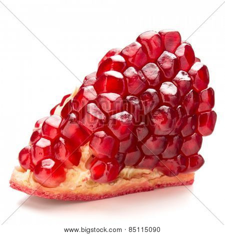 Ripe pomegranate fruit segment isolated on white background cutout