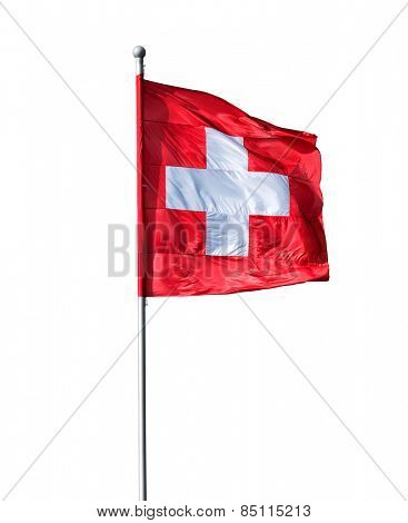 Swiss flag isolated on a white background