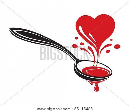 illustrations of spoon and heart