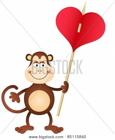 Cute Monkey carries heart