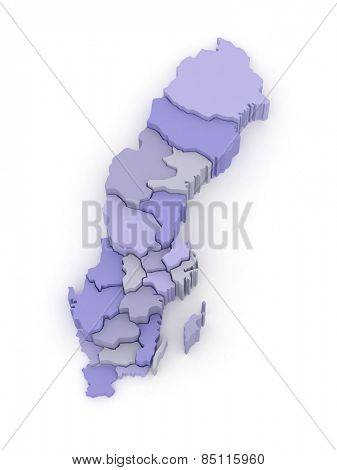 Three-dimensional map of Sweden. 3d