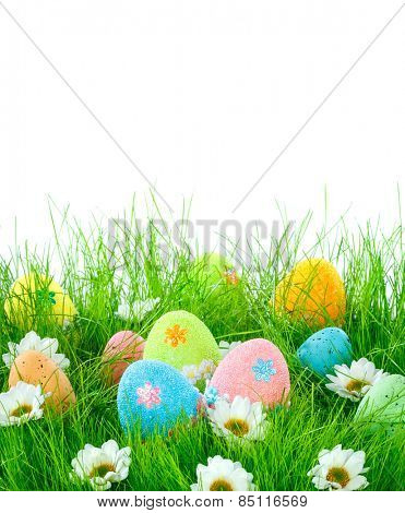 Decorated easter eggs in the grass on a white background