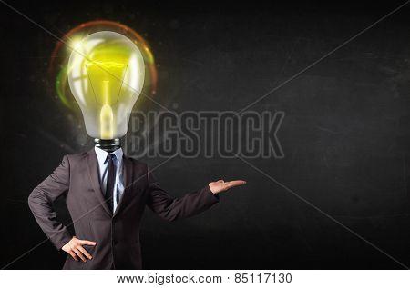 Business man with idea light bulb head concept