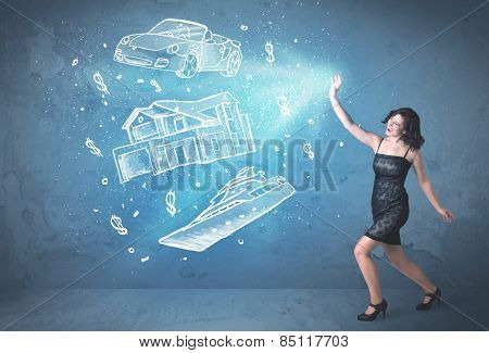 Rich person throwing hand drawn car yacht and house concept