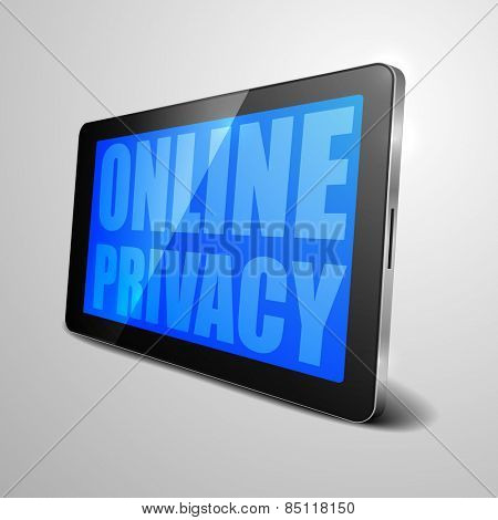 detailed illustration of a tablet computer device with Online Privacy, eps10 vector