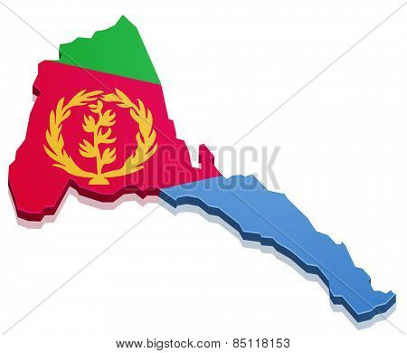 detailed illustration of a map of the Eritrea with flag, eps10 vector