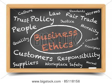 detailed illustration of a Business Ethics wordcloud on a blackboard, eps10 vector, gradient mesh included