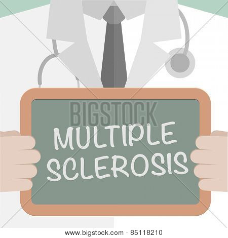 minimalistic illustration of a doctor holding a blackboard with Multiple Sclerosis text, eps10 vector