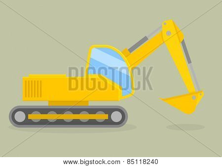 minimalistic illustration of an excavator, eps10 vector