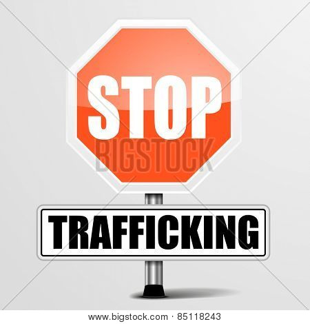 detailed illustration of a red stop Trafficking sign, eps10 vector