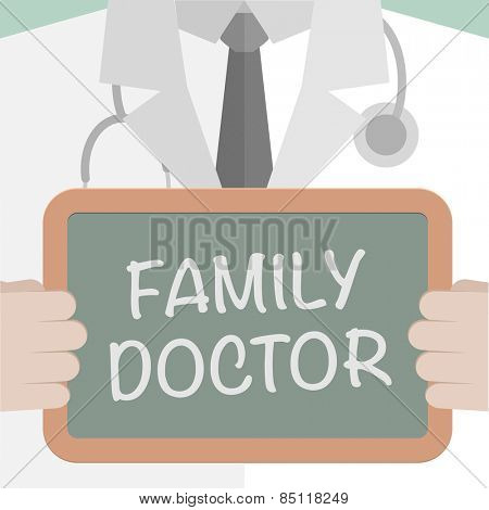 minimalistic illustration of a doctor holding a blackboard with Family Doctor text, eps10 vector