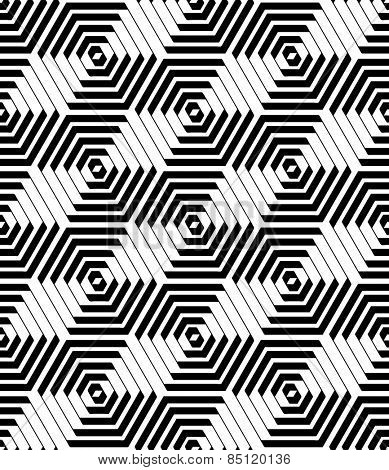 Hexagons and diamonds pattern. Seamless geometric texture. Vector art.