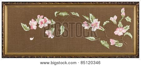 Embroidered Picture In The Frame, Isolated On White Background