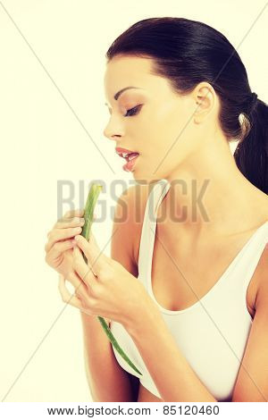Beautiful spa woman with aloe vera.
