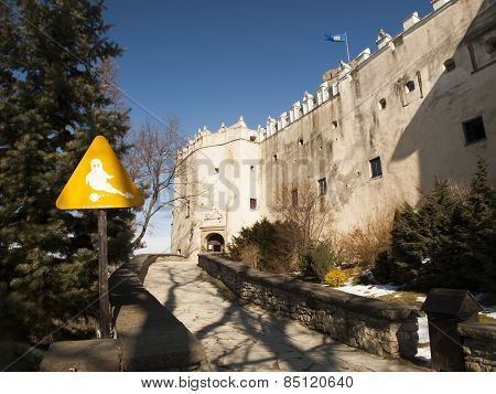 Niedzica, Poland 2015 February 21: Niedzica Castle At Czorsztyn Lake In Poland. Note Ghosts