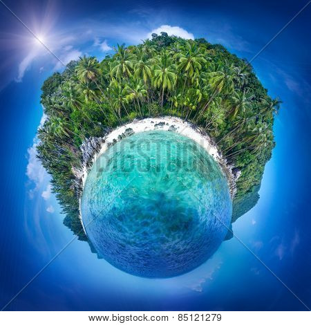 Beautiful little planet of the coast line at Samui island, Thailand. Perfect resort background