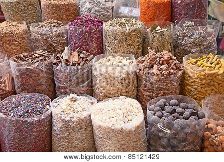 Colorful spices on the traditional arabian souk (market) in Dubai