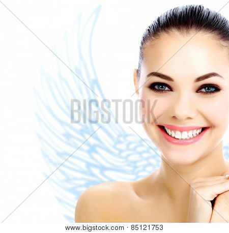 Angel of spa, smiling girl with angel wings