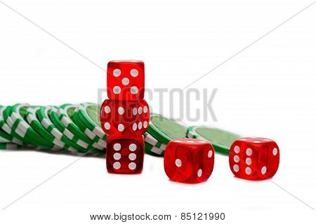 Dice And Chips Isolated On White