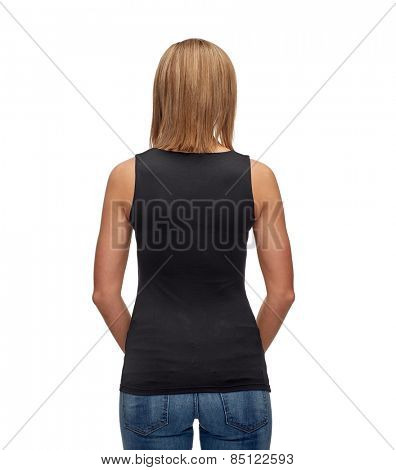 t-shirt design, advertisement and people concept - smiling woman in blank black tank top