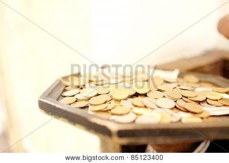 Russian rubles coins closeup