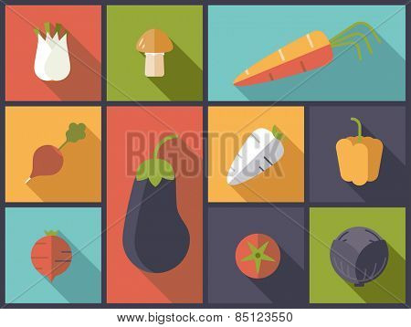 Healthy vegetables icons vector illustration. Flat design illustration with a variety of healthy vegetables icons
