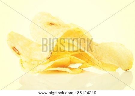 Yellow tasty but unhealthy potatoe chips.