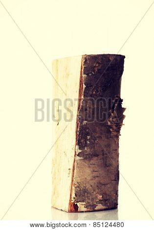 One separated piece of fresh wood.