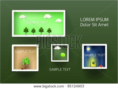Pictures with trees Landscape on Wall. Vector Illustration